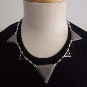 Gray And Black Triangle Statement Necklace